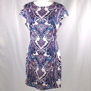 B Darlin Dresses - Blue White and Pink Print Dress